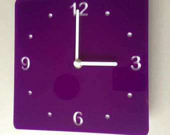 Rounded Corner Square Purple & White Clock - White Acrylic Back, Purple Gloss Finish Acrylic with White hands, Silent Sweep Movement