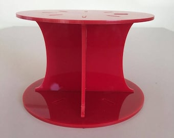 """Plain Round Red Gloss Acrylic Cake Pillars / Cake Separators, for Wedding / Party Cakes 10cm 4"""" High, Size 6"""" 7"""" 8"""" 9"""" 10"""" 11"""" 12"""""""