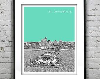 St. Petersburg Florida Skyline Poster Art Print Pier Version 7 FL
