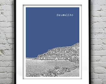 Sausalito Skyline Poster Art Print California CA Version 1