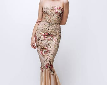 Blush evening dress, couture dress, formal gown