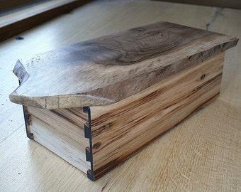 Walnut & Hickory Dovetail Natural Edge Wood Box