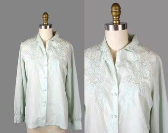 1980s Mint Embroidered Blouse / 80s Decorative Embroidered Top / Sweet Lolita Shirt