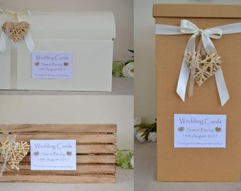 Pretty personalised country shabby chic style wedding card crate or chest post box