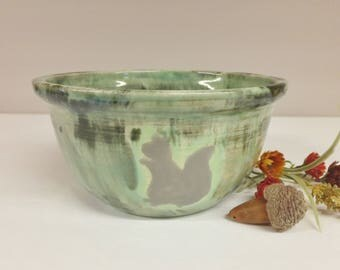 Large Squirrel Bowl in Mint Green Forest