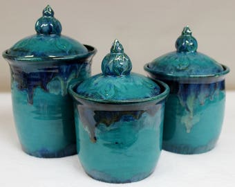 Wild Blue Fire Ceramic Kitchen Canister Set with Lake County Diamonds