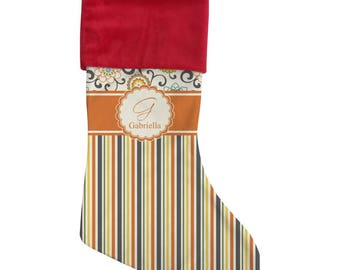 Swirls, Floral & Stripes Christmas Stocking (Personalized)