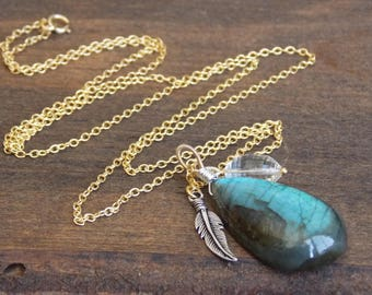 Canadian Labradorite Wrapped Brio Charm Necklace // Northern Lights Jewelry // Luxe Gemstone Jewelry // Boho Luxe Jewelry