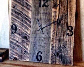 rustic barn wood clock reclaimed wood clock large unique wall clocks rustic home decor wooden clock