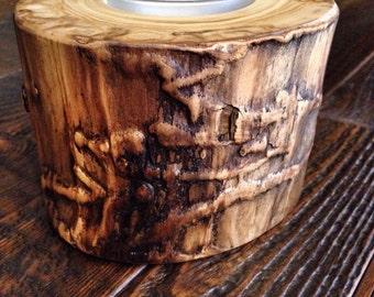 Aspen Log Candle Holder Set, Holiday Table Decor, Rustic Candle Holders, Christmas Decor, Rustic Candle Holders