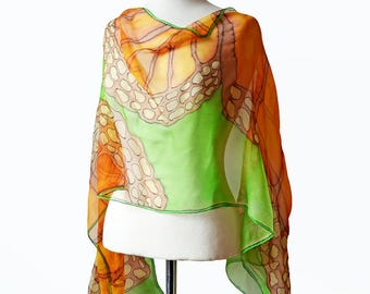 Butterfly wings scarf- Butterfly scarf- Hand painted silk scarf- Green silk scarf- Orange scarf- Monarch butterfly scarf- Long silk scarf