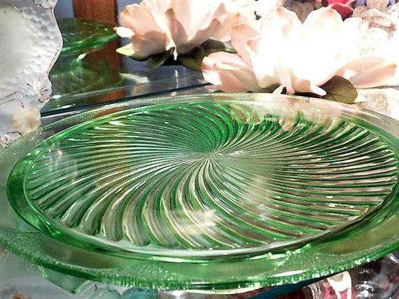 1930s Green Vaseline Uranium Depression Glass Cake Plate SPIRAL Anchor Hocking Art Deco Vintage Kitchen Cottage Home Decor Country Wedding