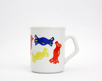 Vintage mug // Zsolnay Pecs Hungarian white mug with a candy theme // Primary colors