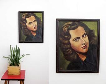 Vintage painting // 40's 50's 49cmx39cm framed portrait of a woman