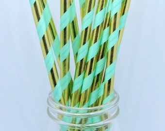 Party Supplies, Paper Straw Pack, 25 pieces, Paper Straws, Mint and Gold Straws, Party Straws, Hazals Bazaar Supplies