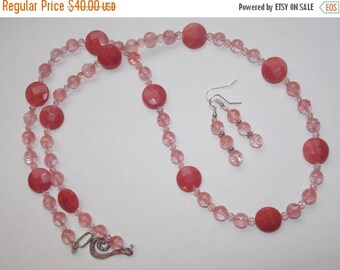 20%OFF Pink Quartz and Rhodonite Coin Necklace and Earrings Set