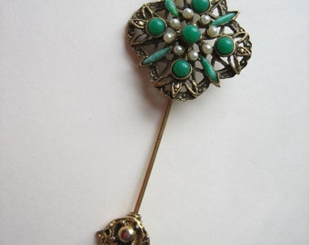 Vintage lapel pin, stick pin, antiqued gold pin, green and pearl, green brooch, vintage brooch, short stick pin