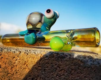 Turtle Chillum -Silver Fumed/Color Changing- Double Amber Purple Shell