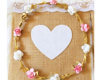 Personalised Burlap Hessian Bunting Banner Flags with lace