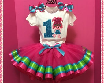Birthday Poppy Troll Ribbon Tutu; Personalized Onezee, Ribbon Tutu And Handcrafted Matching Hair Bow;1st,2nd,3rd,4th,5th Birthday