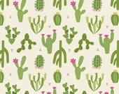 Cactus on Cream - Paracas by Lewis & Irene - cactus fabric, cacti fabric, by the yard, southwest fabric, desert landscape, flower. cactus