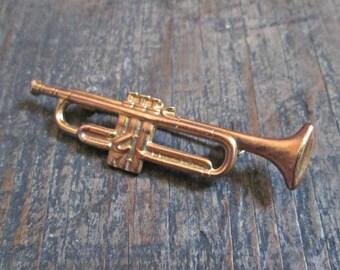 Trumpet Brooch, Goldtoned Trumpet Pin, Music Lover Gift, Trumpet Player Gift, Music Teacher Gift, Musical Instrument Pin, Musical Brooch