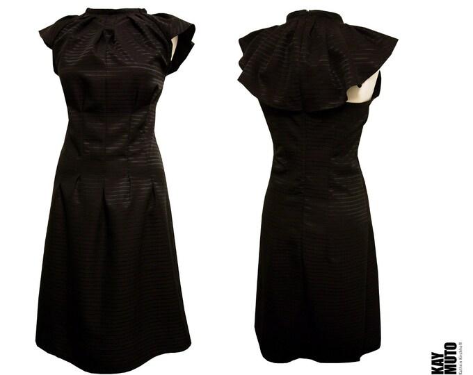 Origami wing sleeve dress black eggplant colored