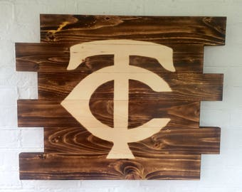 Minnesota Twins- Wooden Sign-  Baseball Sign- Wall Hanging- Man Cave Sign