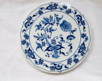 Vintage Blue Onion Porcelain Tea Tile - Japan