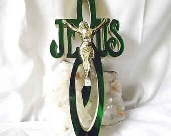 Jesus Cross Jesus Crucifix Wooden Cross Mirrored Cross Irish Green Cross Religious Decor Spiritual Art Jesus Christ Religious Gift