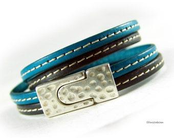 Damen Armband Leder türkis dunkel grau - Wickelarmband Lederarmband  - gehämmert - Geschenk für Sie Schwester beste Freundin Mutter Ehefrau