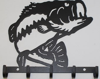 Bass Key Holder Metal Wall Art Home Decor