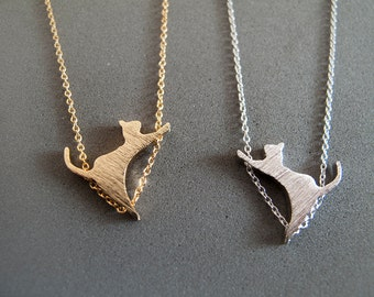 Gold or Siver Cat Necklace -  Everyday Jewelry