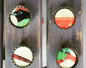 Bird beer cap magnet set of 4