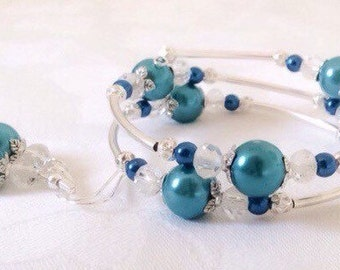 Teal Bracelet, Teal Jewelry, Teal Pearl Jewelry, Bridesmaid Gift, Wedding