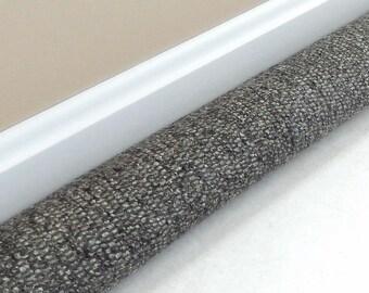 Extra Long Draft Stopper - 38, 40, 42, 44, 46, 48, 50, 52 inches - UPHOLSTERY FABRIC  - Door Draft Blocker - Black Grey Tweed Woven