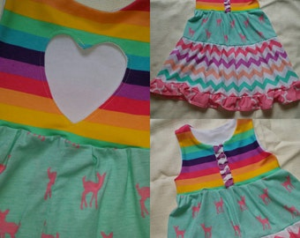 Easter dress 4t ready to ship rainbow multi colors.