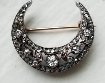 SOLD Antique Victorian Crescent Moon Old Mine Cut Rose Cut Diamond Silver 15K Gold Pin Brooch, 15CT European Brooch