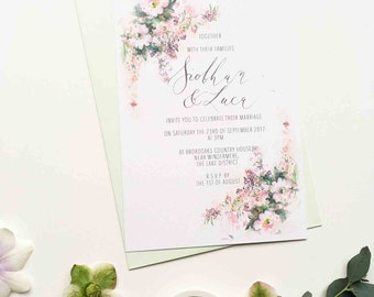 Daydream personalised illustrated wedding invitation - romantic wild rose and delicate florals