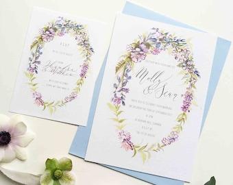 Bluebells personalised wedding invitation - for boho and woodland weddings