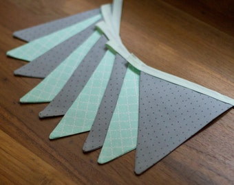 Bunting Flags - Grey and Mint Patterned