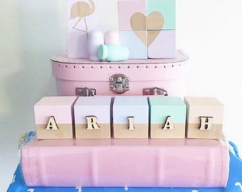 Minimalist 3D Wood Wooden Blocks Custom Name
