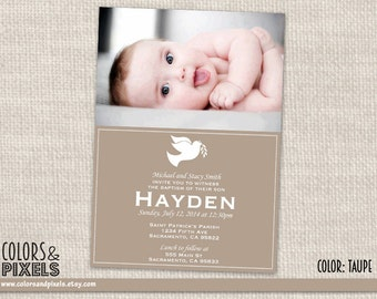 Dove Baptism Invitation, Christening Photo Invitation, First Communion DIY Printable Invitation, Invitacion para Bautizo, DIY Invite RE001