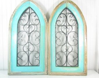 Shabby cottage decor,  shabby decor, wall decor, wall hangings, wood , metal, cathedral, rustic decor, boho,