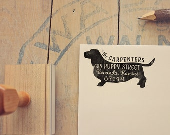 Basset Hound Address Stamp - Dog Return Address Stamp - Dog Lover Gift - Rubber Stamp - Personalized Pet Address Stamp