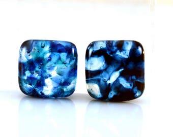Blue Jewels Cabs Handmade Lampwork Glass Cabochon Set