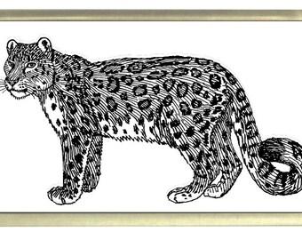 Snow Leopard Fridge Magnet 7cm by 4.5cm,