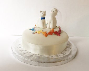 White Cat Wedding Cake Toppers- Mr and Mrs Cat Decorations -  Bride and Groom Cats - Porcelain Cats Cake Toppers - Kitties Tie The Knot