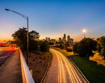 The Andrew Jackson Highway and Charlotte skyline at night, in Charlotte, North Carolina. | Photo Print, Stretched Canvas, or Metal Print.