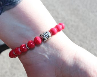 Buddha #3 red and gray bracelet / wrist jewelry / elastic bracelet
